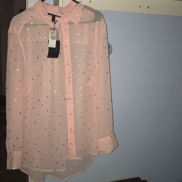Lane Bryant Tops - Lane Bryant Sheer Polka Dot Blouse/Shirt NWT